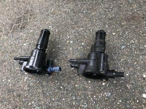 ラジエターの冷却水がポタポタ漏れてる⤵️との事で見積もり後に出張修理に伺いました(車)💨